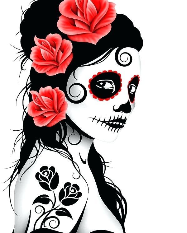 Sugar Skull Girl Drawing   Free download on ClipArtMag