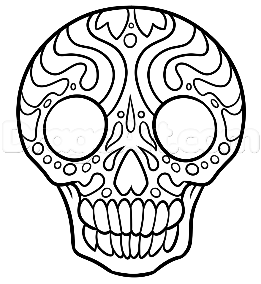 879x959 How To Draw A Christmas Sugar Skull, Step