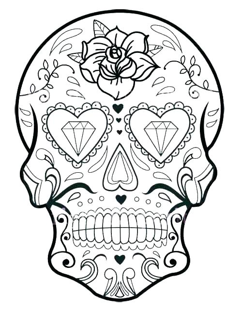 500x647 New Sugar Skull Coloring Pages For Line Drawings With Woman