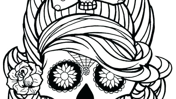 585x329 Simple Sugar Skulls Simple Skull Outline Best Line Drawing Images