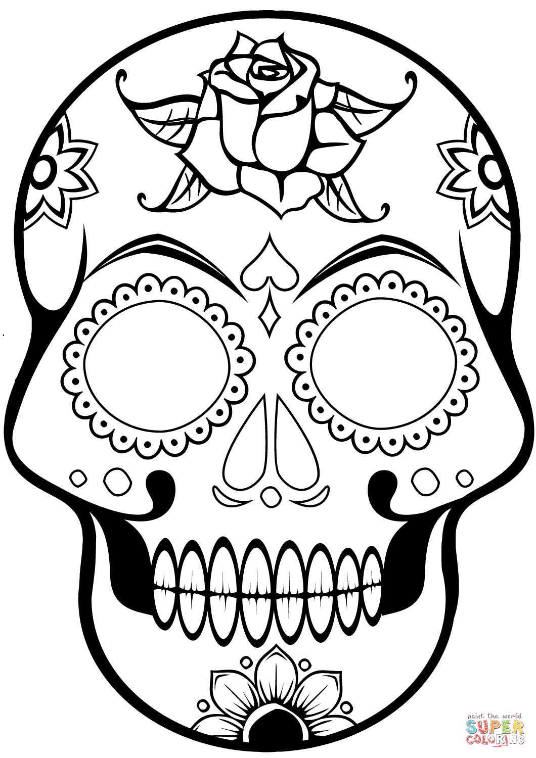 1060x1500 Sugar Skull Coloring Pages For Kids Book