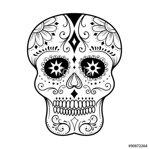 500x500 Sugar Skull Line Art Stock Image And Royalty Free Vector