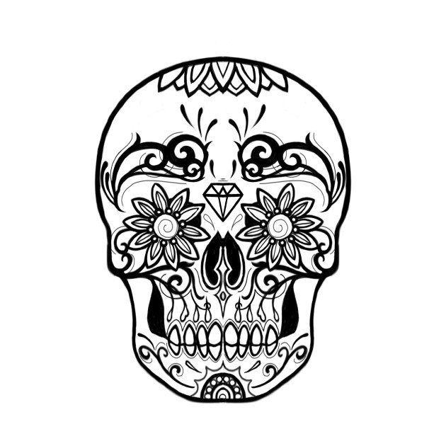 630x630 With Sugar Skull Black And White
