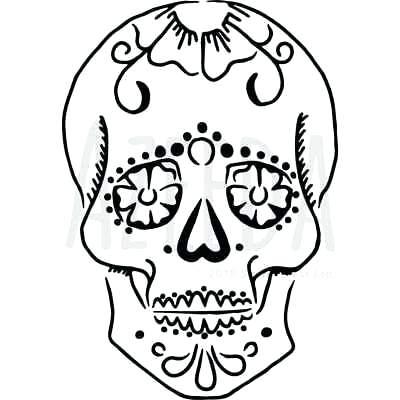 400x400 Sugar Skull Wall Stencil Template Scroll Templates Craft Pattern