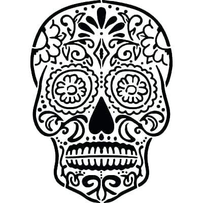 400x400 Template Cool Skull Design Coloring Nautical Drawing Sugar Skull