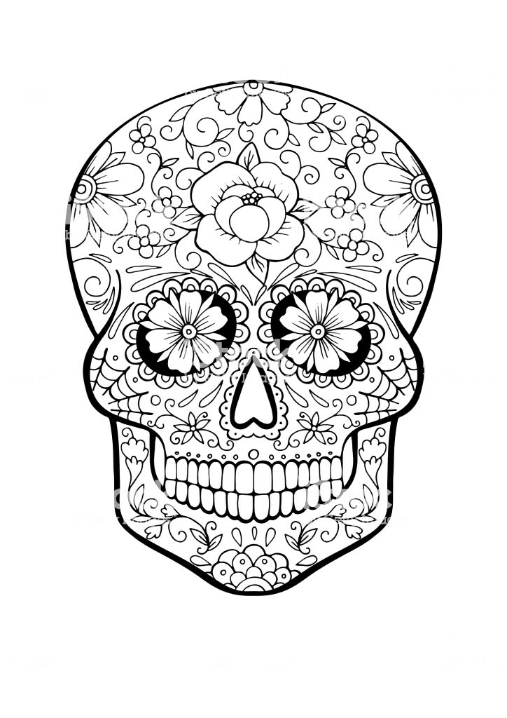 724x1024 Sugar Skull Coloring Pages Pdf Free Download