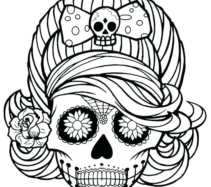 678x600 Coloring Pages Sugar Skulls Coloring Pages Sugar Skulls Tattoo