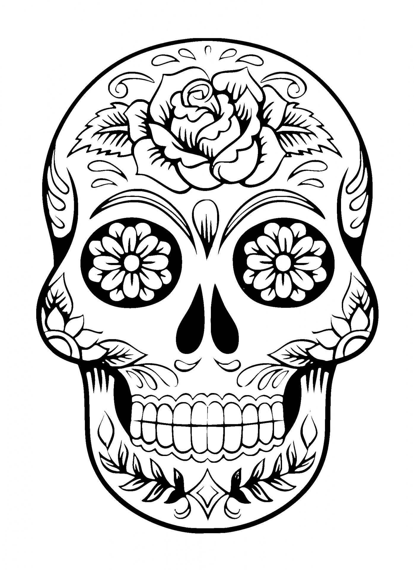 Sugar Skull Pin Up Drawing