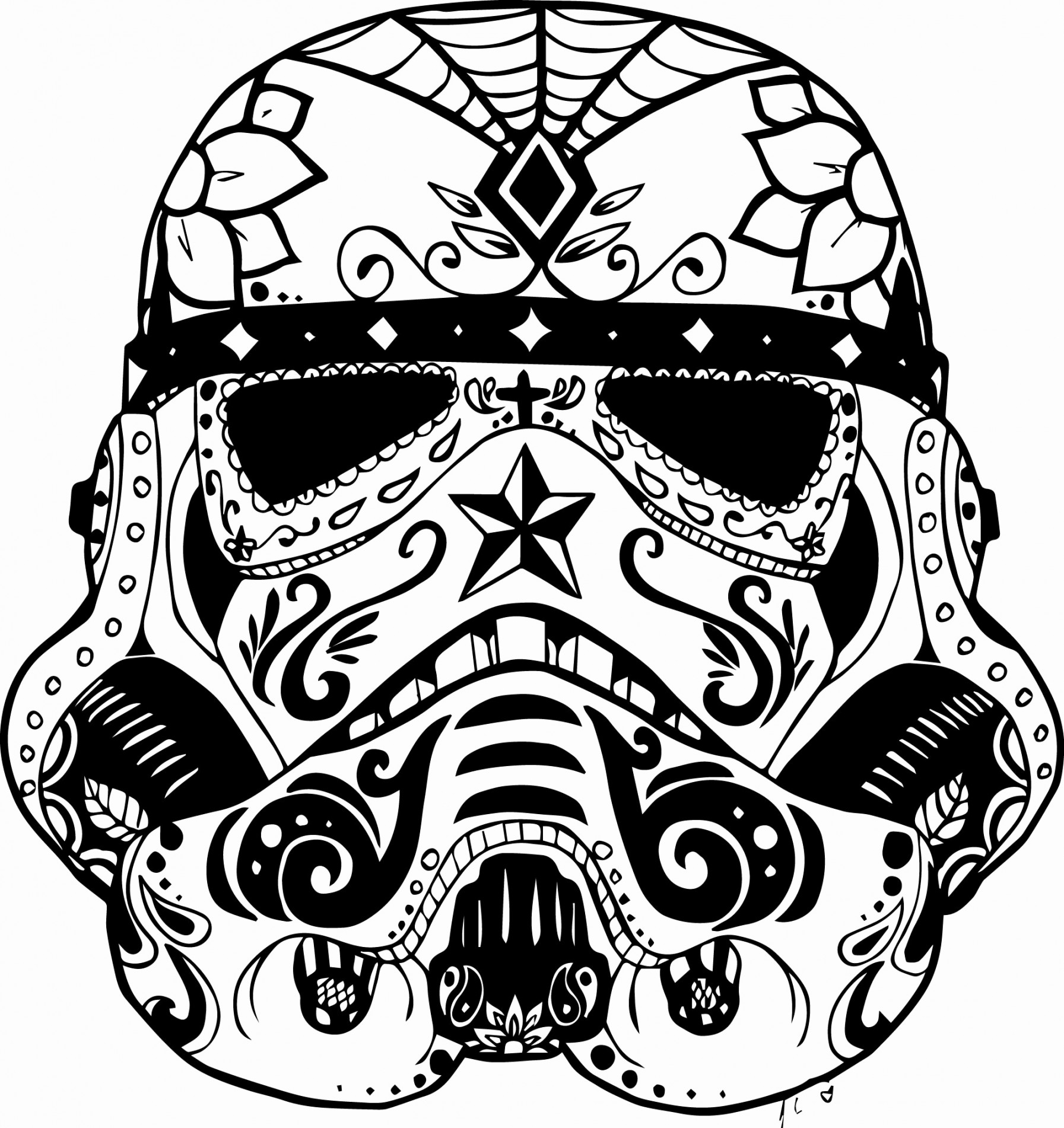 1793x1901 Day Of The Dead Skull Coloring