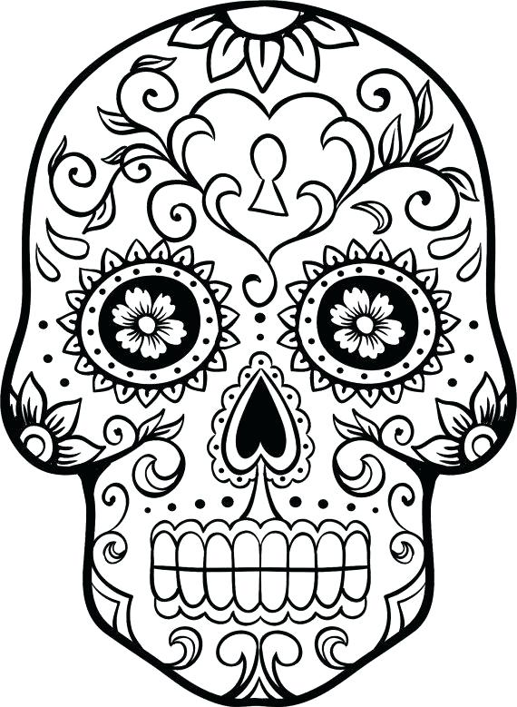 570x779 Dead Sugar Skull Cool Drawing Pictures Girl Tattoo Outline Stock