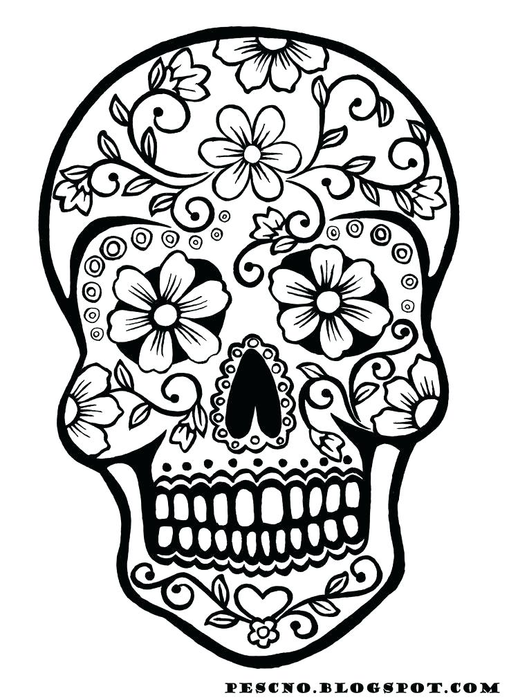 736x1012 New Sugar Skull Coloring Pages For Line Drawings With Woman