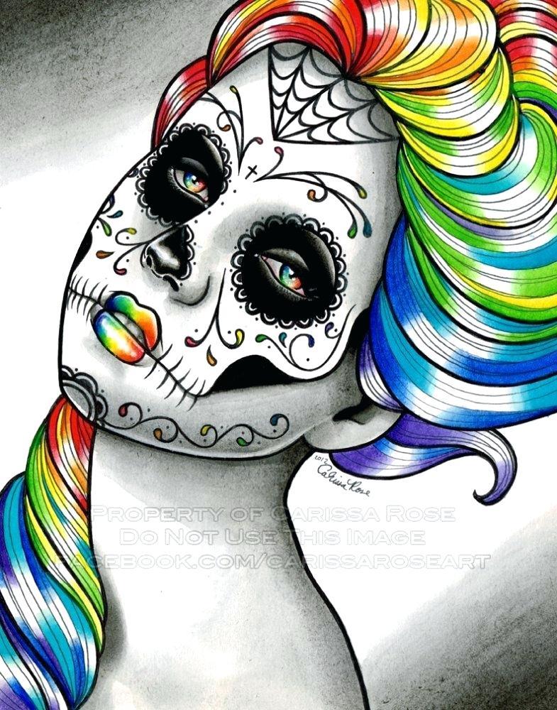 785x1000 Rainbow Sugar Skull Girl Art Art Print
