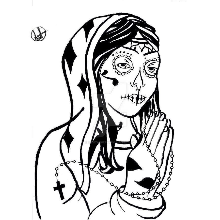 894x894 Religious Sugar Skull Woman