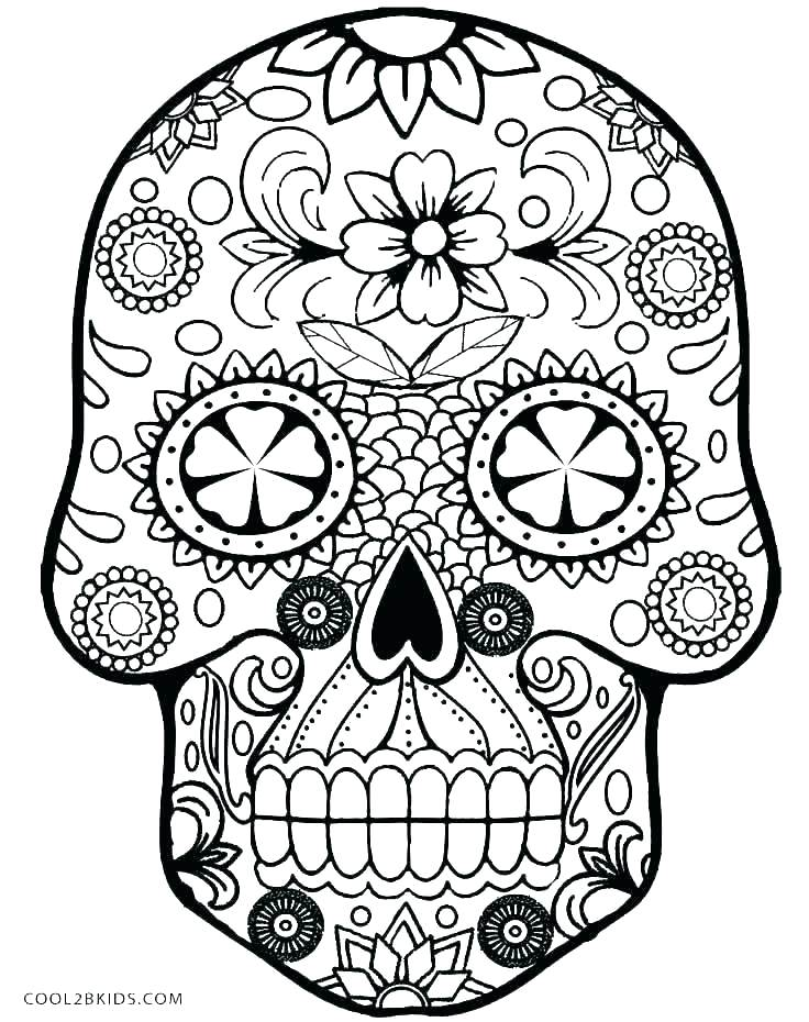 736x930 Skull Printable Coloring Pages Simple Sugar Skull Coloring Pages
