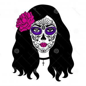300x300 Stock Illustration Girl Sugar Skull Makeup Mexican Day Dead