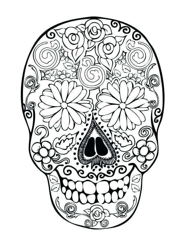 736x951 Sugar Skull Coloring Pages For Adults Inspirational Sugar Skull