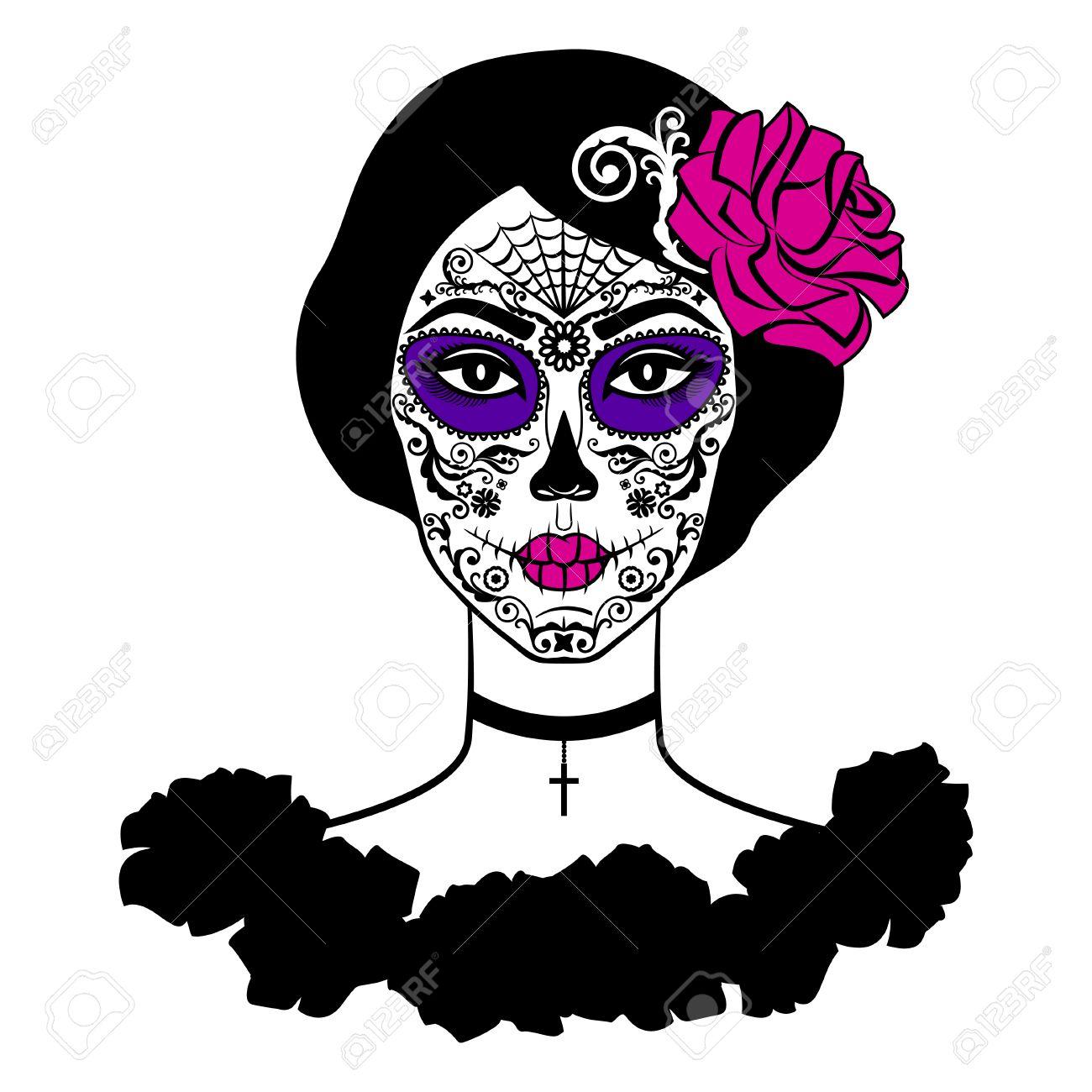 1300x1300 Sugar Skull Girl Silhouette