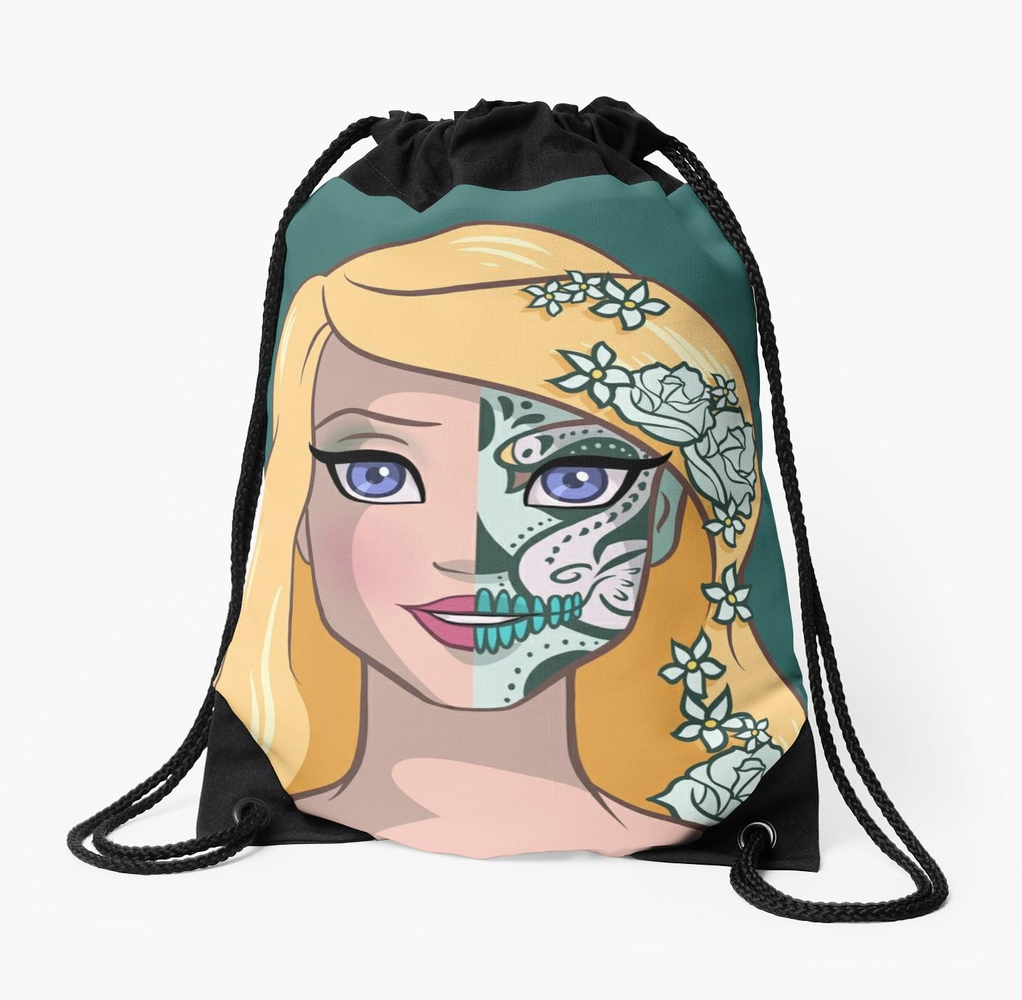 1435x1404 Sugar Skull Series Lady Swan Drawstring Bags