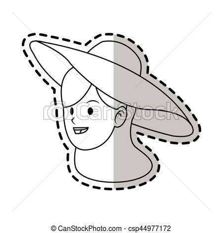450x470 Happy Pretty Woman With Big Sun Hat Icon Image Vector Illustration