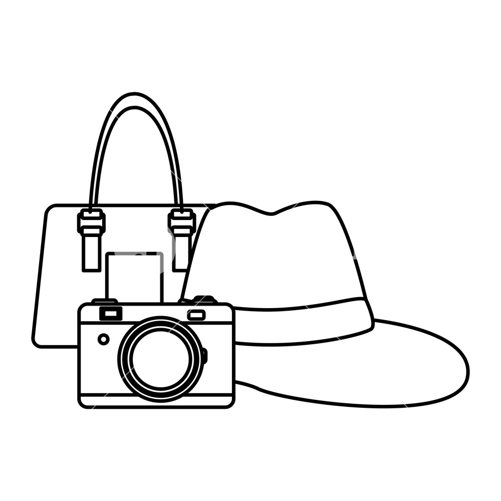 1000x1000 Panama Hat With Purse And Camera Drawing In White Background