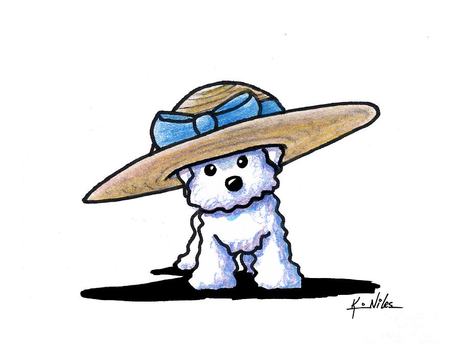 900x707 Bichon In Hat Drawing