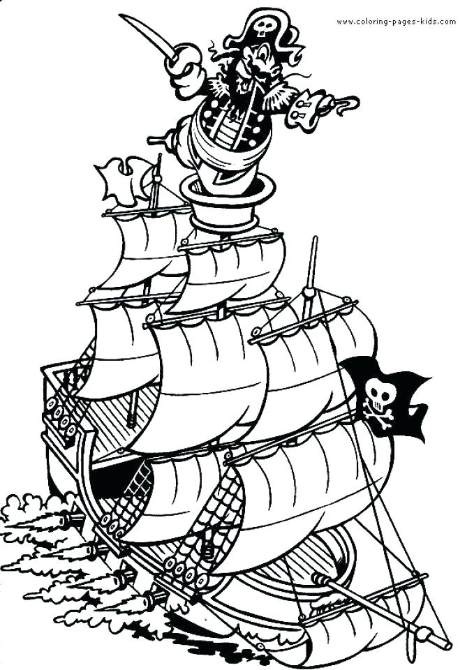 679x960 Pirate Ship Coloring Page