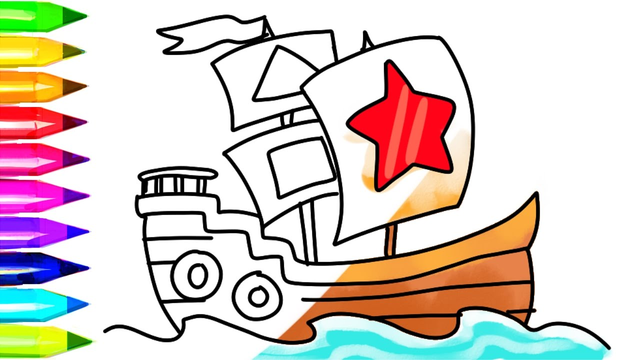 1280x720 Ships Coloring Pages How To Draw Pirate Ship And Boat