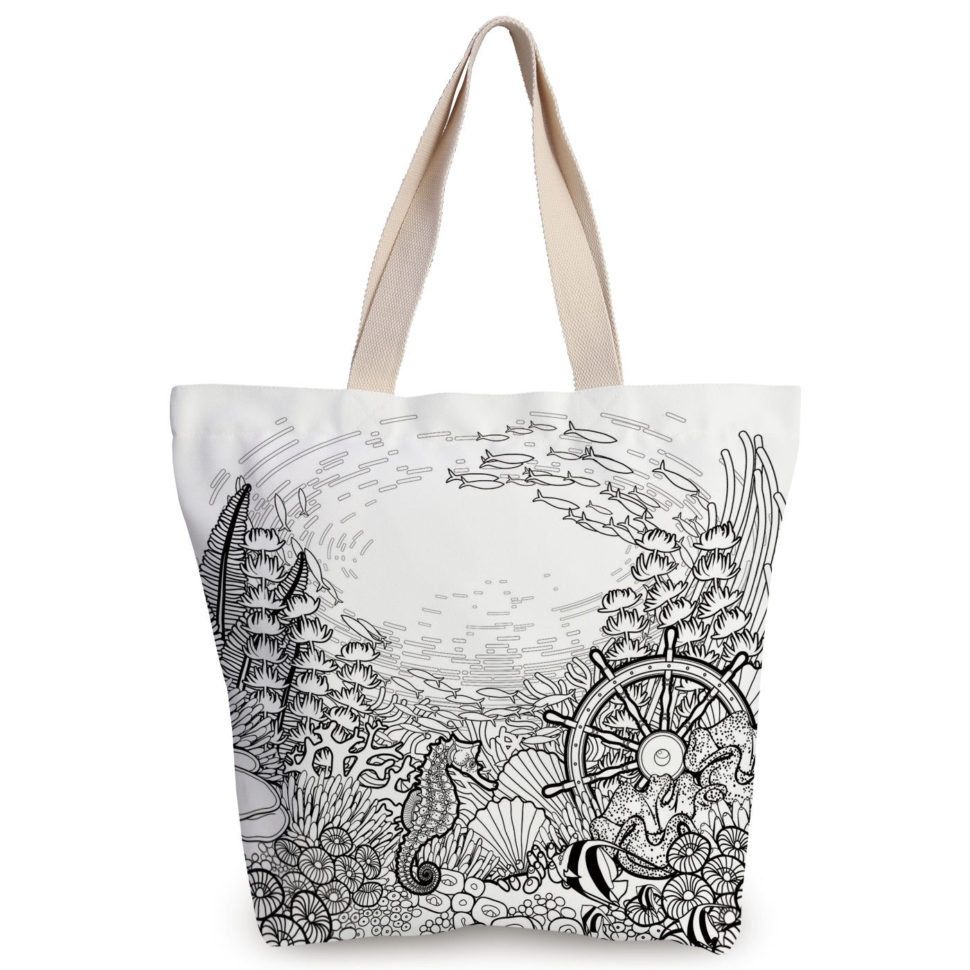 1400x1400 Personalized Canvas Tote Bag,aquarium,graphic Coral