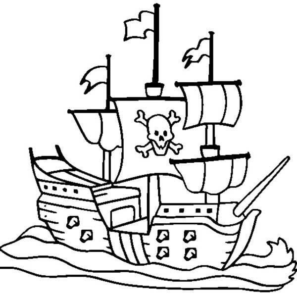 600x600 Pirate Ship Coloring