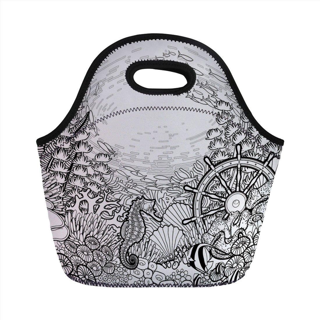 1100x1100 Neoprene Lunch Bag, Aquarium, Graphic Coral Reef