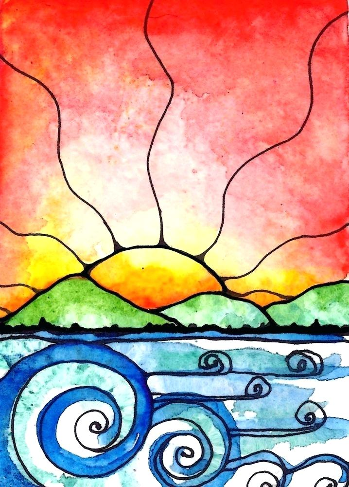 718x1000 how to draw a sunset drawing leaves with pastel pencil draw sunset