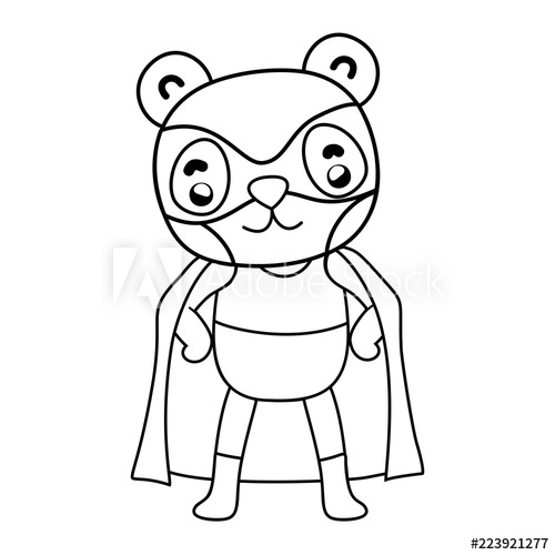 500x500 Outline Panda Head Wearing Mask To Superhero Costume