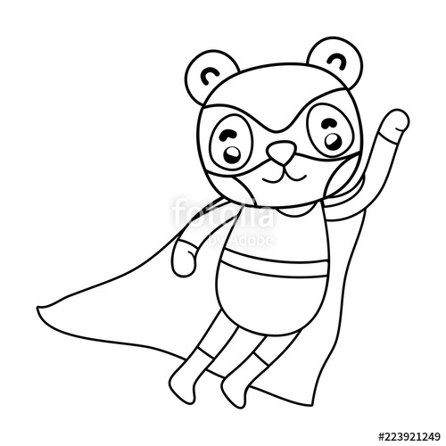 500x500 Outline Panda Jumping With Superhero Costume And Mask Stock Image
