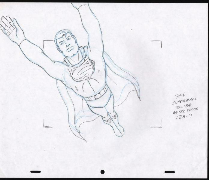 696x600 Original Superman Cartoon Animation Cel Production Drawing