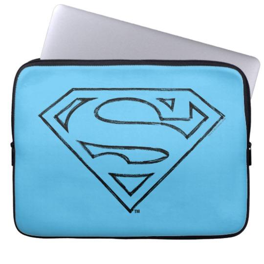 540x540 Superman S Shield Simple Black Outline Logo Computer Sleeve