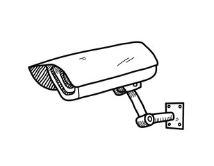 308x240 cctv security camera, a hand drawn vector illustration of a cctv