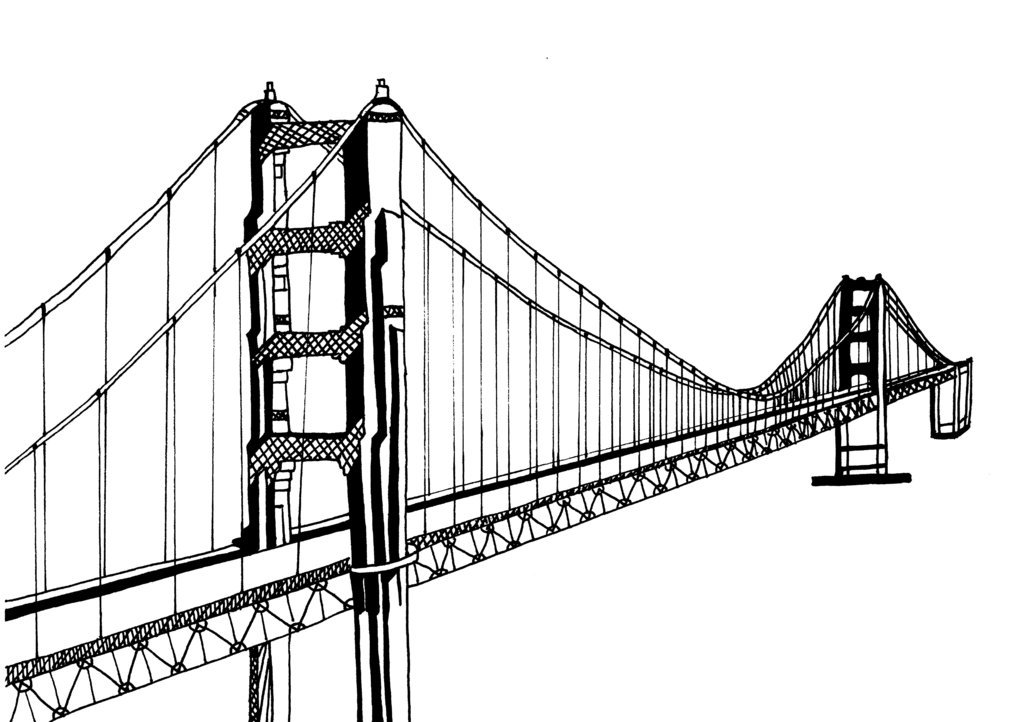 1024x722 Sketches Bridge And Gate Sf Drawings Golden