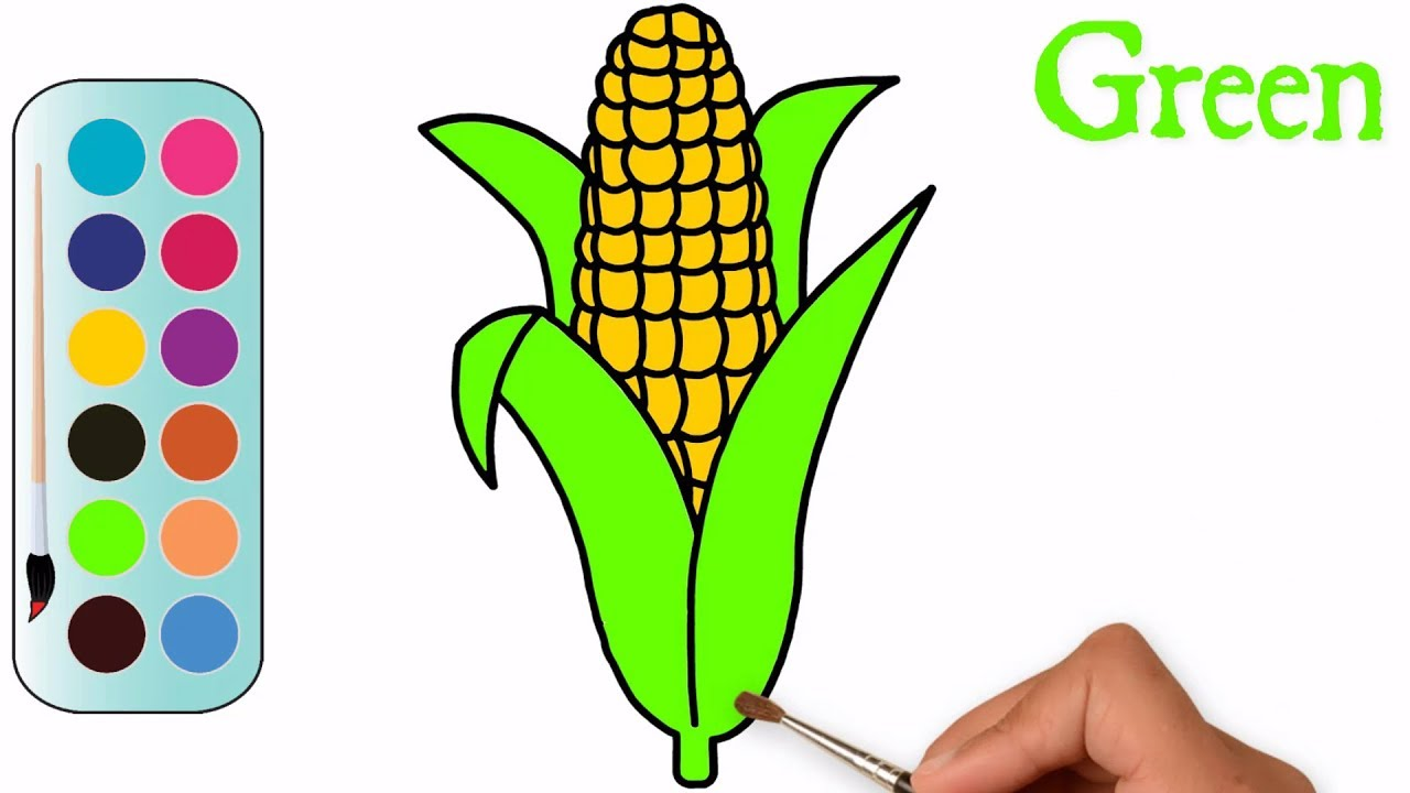 1280x720 Drawing And Coloring A Corn Easy Way To Draw A Corn Mhp