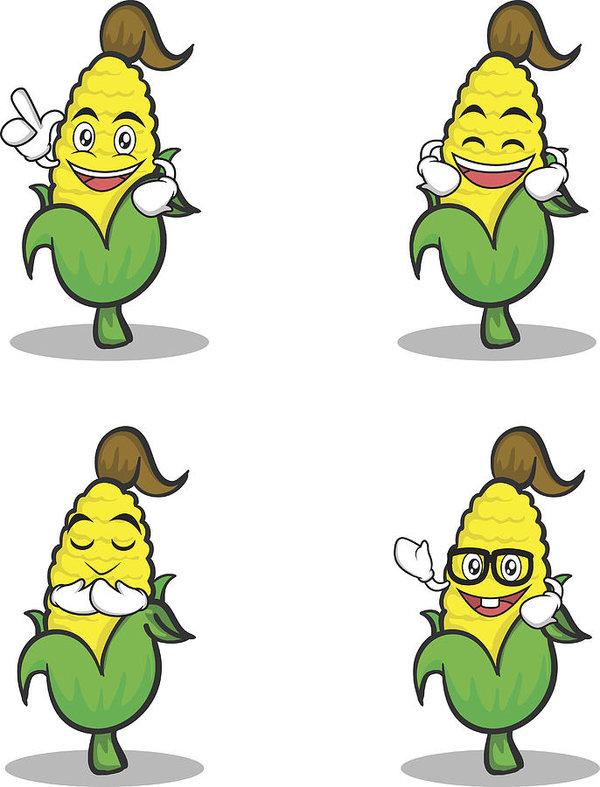 600x787 Set Of Sweet Corn Character Cartoon Vector Illustration Art Print