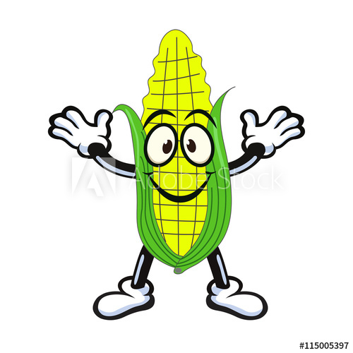 500x500 Vector Of Sweet Corn Character Presenting