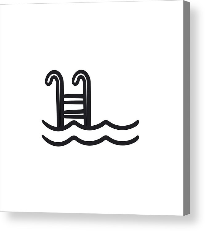 666x750 Swimming Pool With Ladder Sketch Icon Acrylic Print