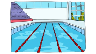 320x180 Animated Drawing Of Indoor Olympic Swimming Pool Racing Lanes