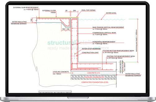 503x330 Skimmer Type Swimming Pool Retaining Wall Detail