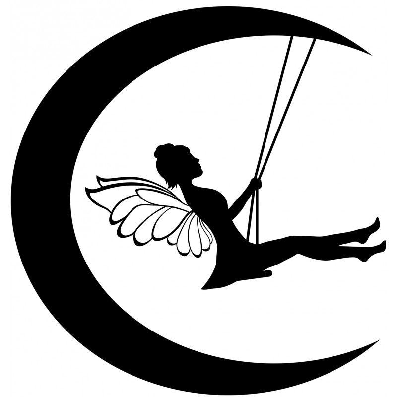 800x800 fairy on moon silhouette fairy moon swings wall fairy ideas