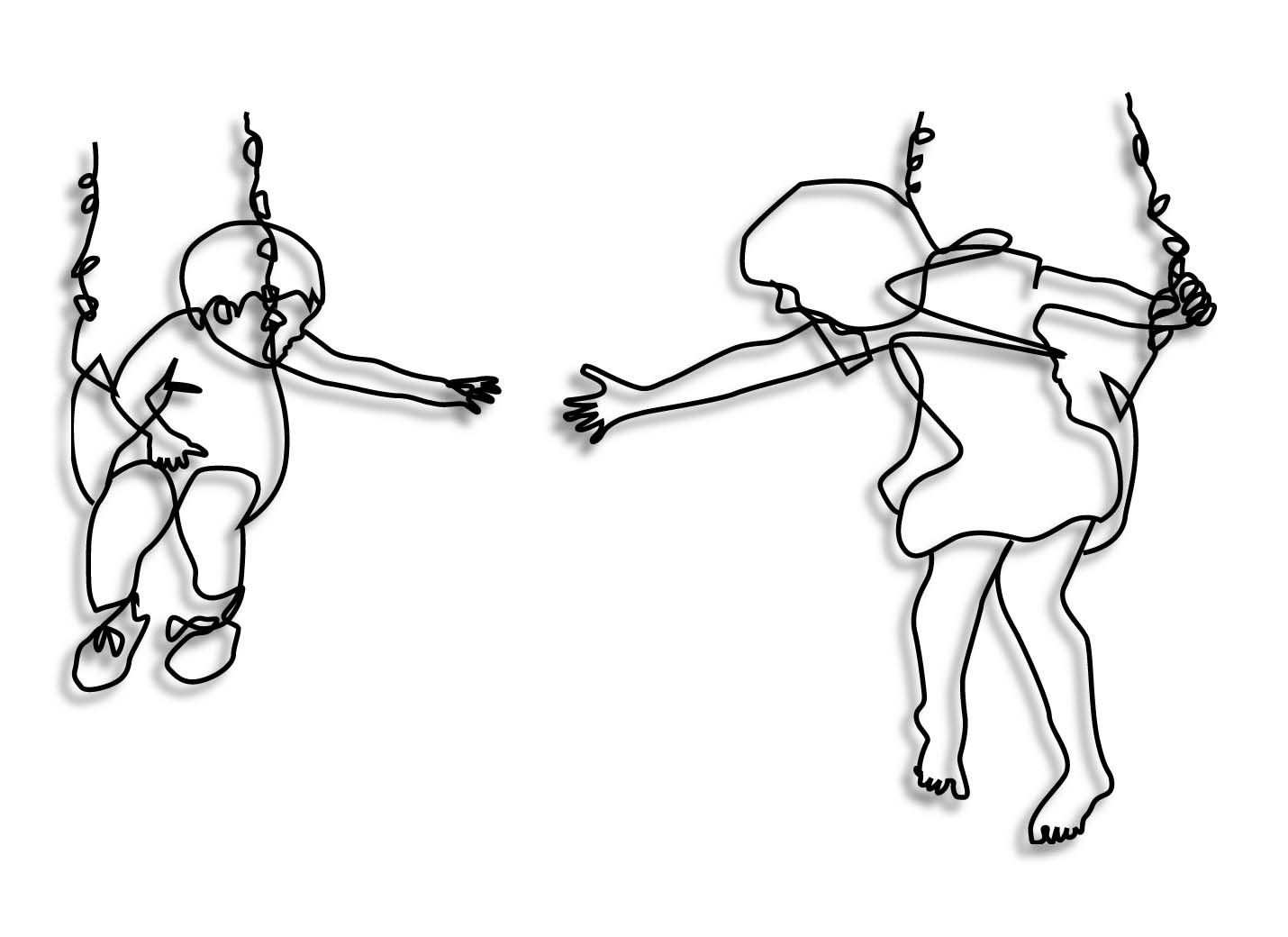 1430x1040 drawing of children on swings other wire wall art chicken wire