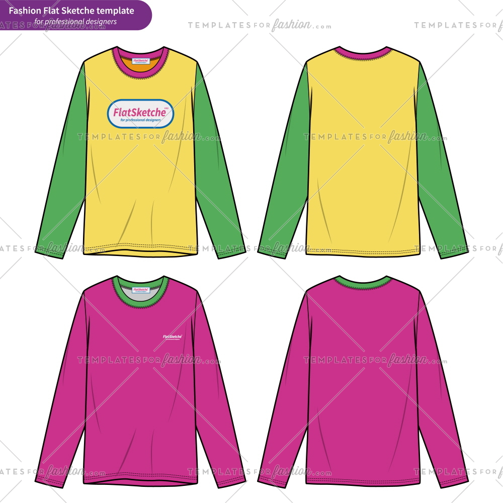 1000x1000 Long Sleeve T Shirts Fashion Flat Technical Drawing Template