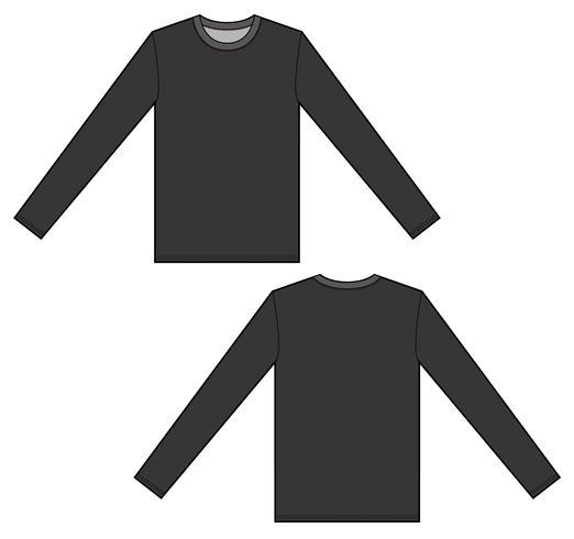 522x490 Long Sleeve Tee Fashion Flat Technical Drawing Template
