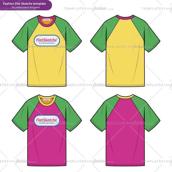 600x600 Raglan Sleeve Tee Shirt Overfit Fashion Flat Technical Drawing