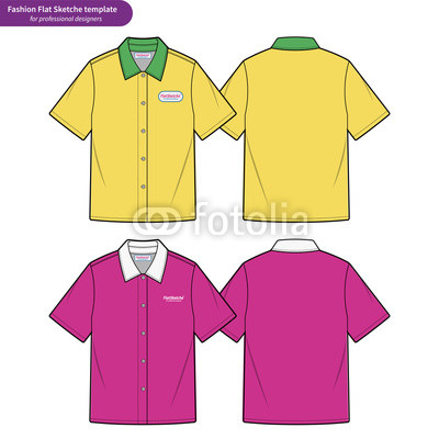 400x400 Short Sleeve Shirts Fashion Flat Technical Drawing Template Buy