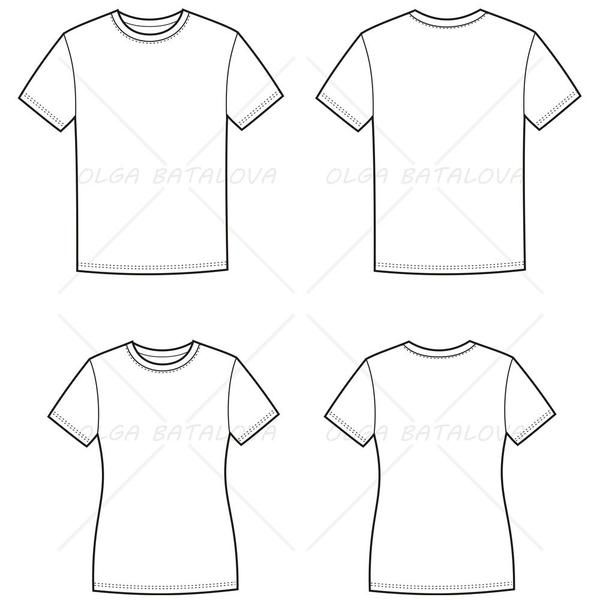600x600 Women's And Men's T Shirt Fashion Flat Templates Linework